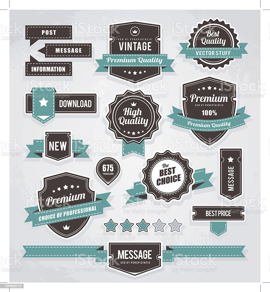 Retro labels set vector art illustration