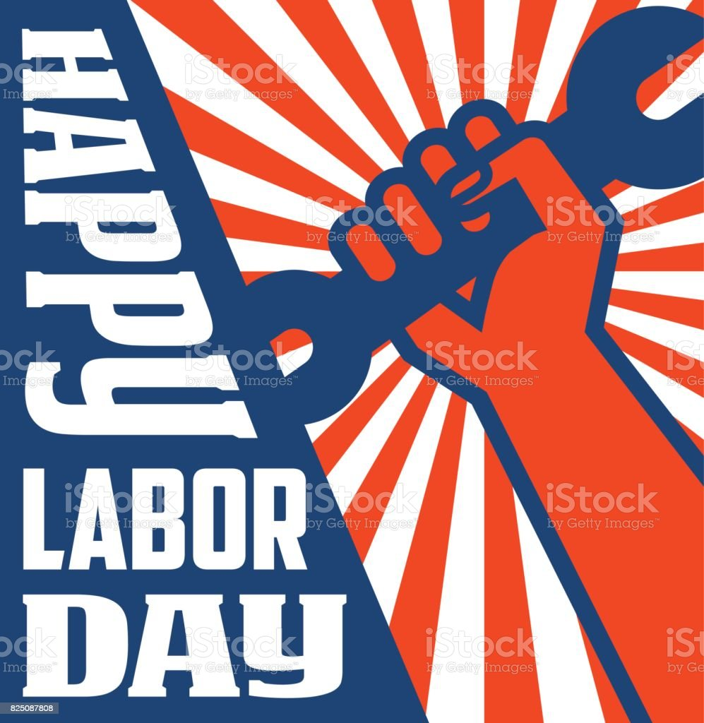retro labor day poster banner design with strong worker fist holding up wrench. vector art illustration