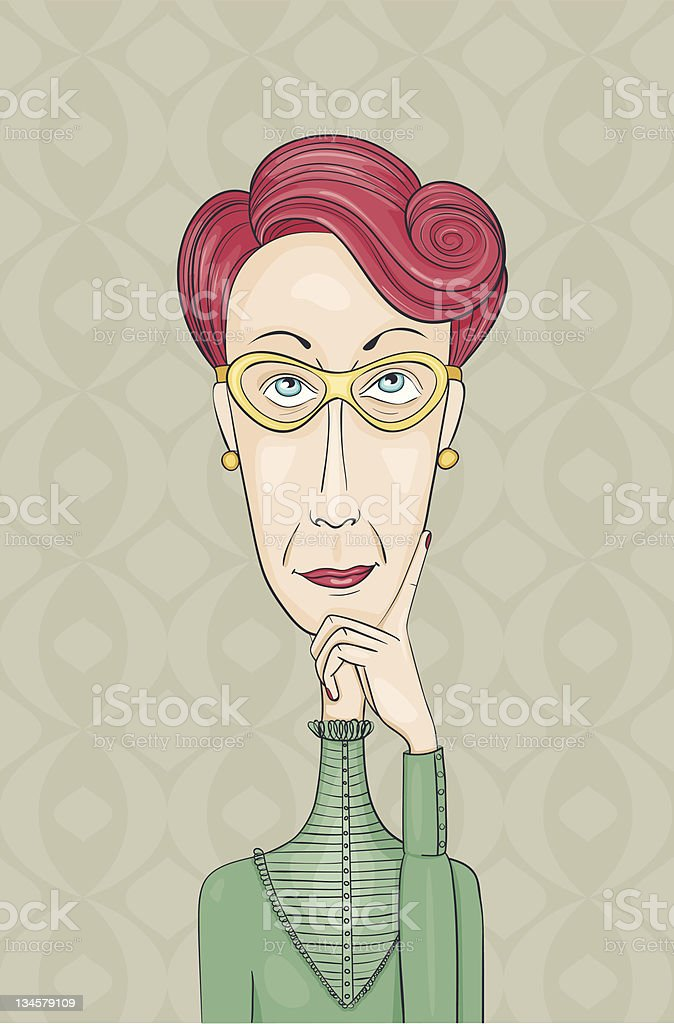 Retro lady thinking royalty-free retro lady thinking stock vector art & more images of adult