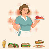 Retro Lady with a plate full of food vector illustration
