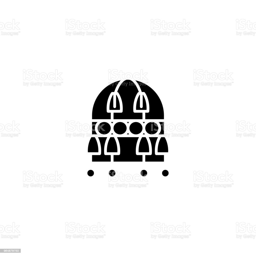 Retro lamp black icon concept. Retro lamp flat  vector symbol, sign, illustration. royalty-free retro lamp black icon concept retro lamp flat vector symbol sign illustration stock vector art & more images of antique