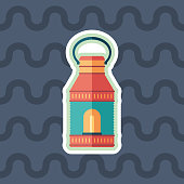 Retro lamp sticker flat icon with color background.