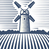 Retro landscape windmill vector illustration farm house agriculture graphic antique drawing