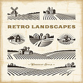 A set of retro landscapes in woodcut style. Editable EPS10 vector illustration with clipping mask and transparency.