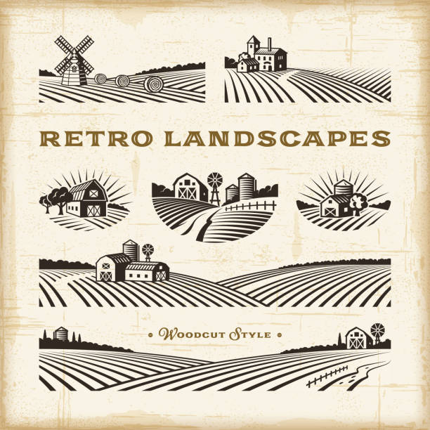 Retro landscapes set A set of retro landscapes in woodcut style. Editable EPS10 vector illustration with clipping mask and transparency. farm stock illustrations