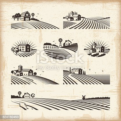 A set of retro landscapes in woodcut style. Editable EPS10 vector illustration with clipping mask. Includes high resolution JPG.