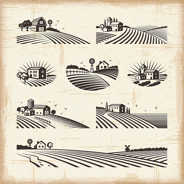 illustrations, cliparts, dessins animés et icônes de paysages rétro - agriculture