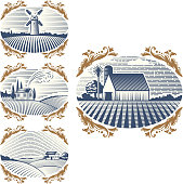 Retro landscapes vector illustration farm house agriculture graphic countryside scenic antique drawing