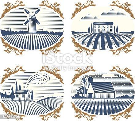 Retro landscapes vector illustration farm house agriculture graphic countryside. Grunge farmhouse outdoor road season scene horizon organic scenic antique drawing.