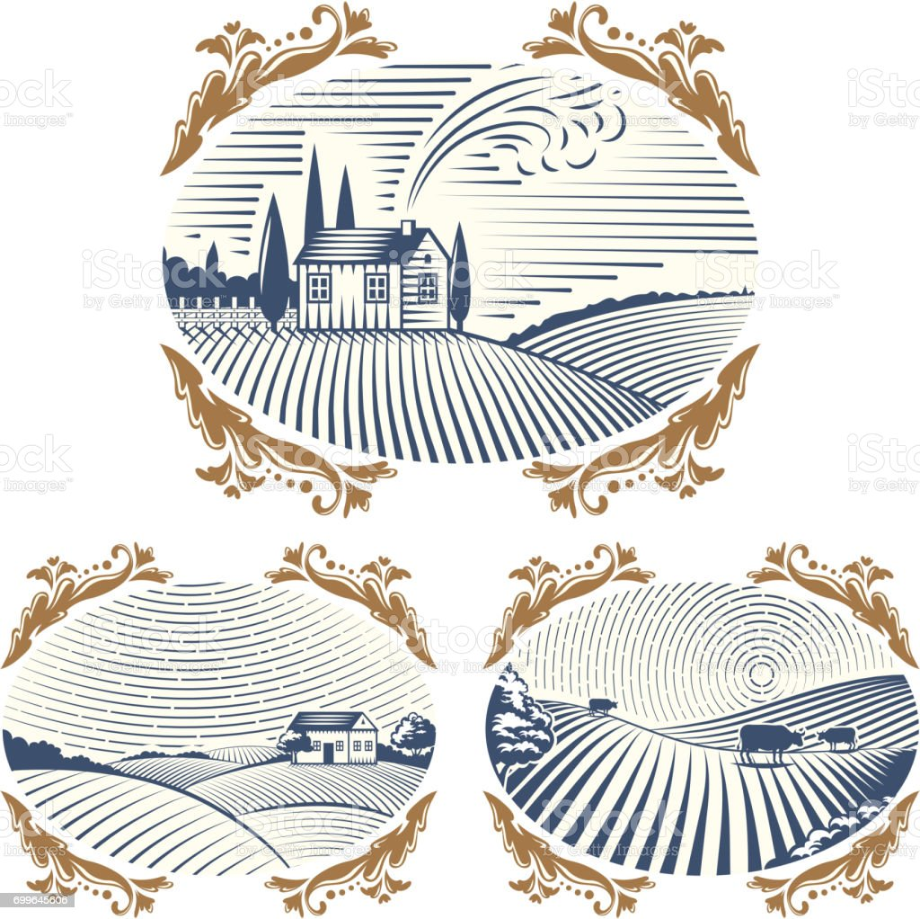 Retro landscapes vector illustration farm house agriculture graphic countryside scenic antique drawing vector art illustration