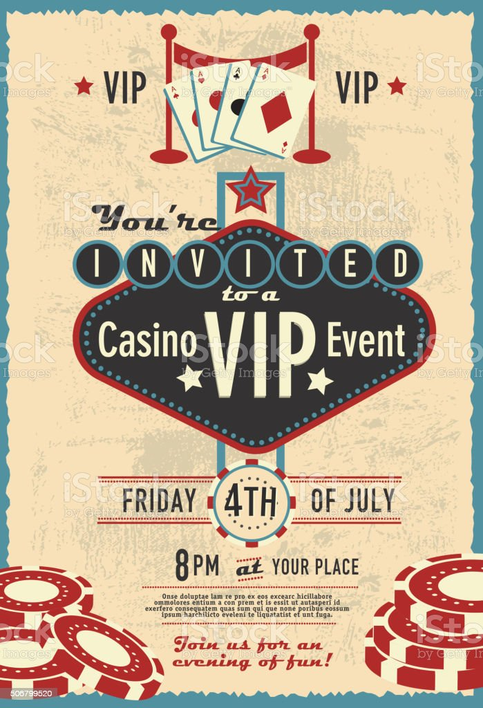 Retro Las Vegas Sign Vip Casino Invitation Design Template Stock ...
