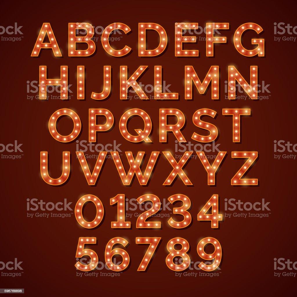 Retro light bulb bright alphabet, vector font vector art illustration