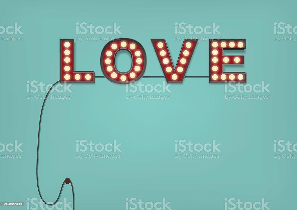 Retro-Glühbirne Liebe Zeichen auf ein zartes Blau Wand – Vektorgrafik