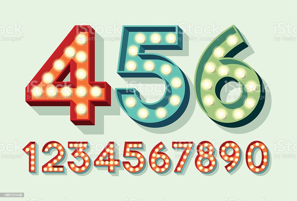 Retro Light Bulb Numbers vector art illustration