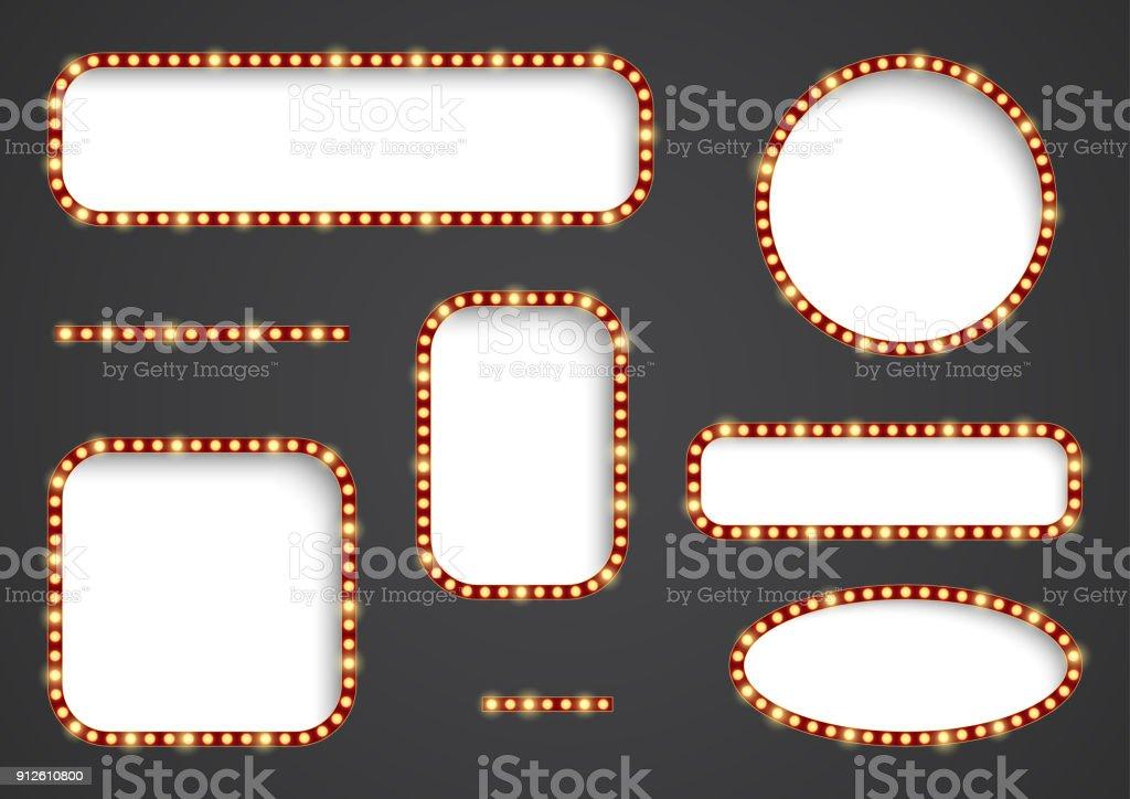 Retro light frames. vector art illustration