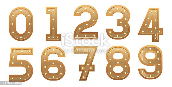 istock Retro light sign numbers set. Golden numerals with bulbs. Vintage vector illustration. 1175060356