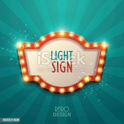Retro light sign. Vintage style banner. Vector illustration.
