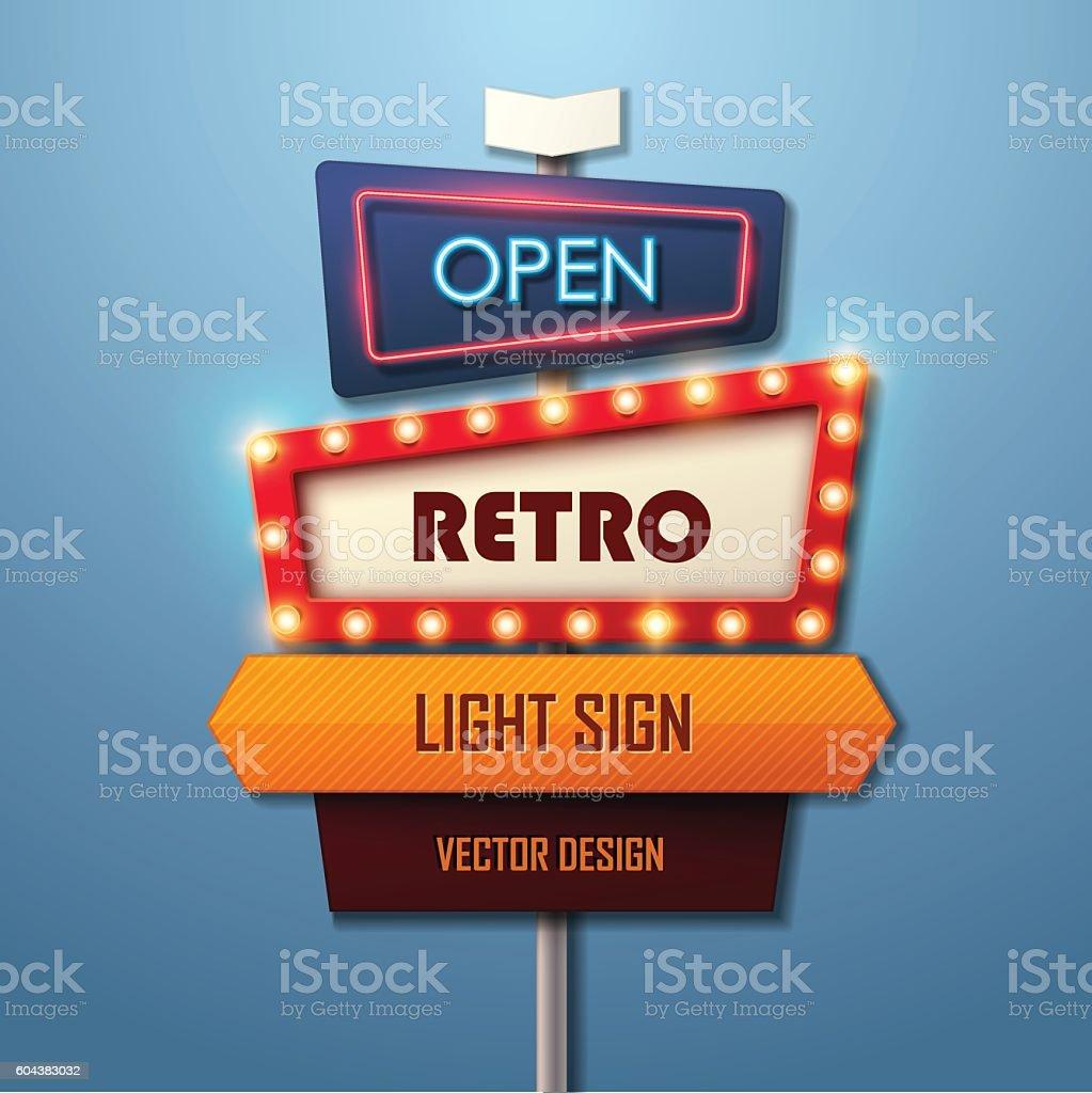 Retro light sign. Vintage style banner. vector art illustration