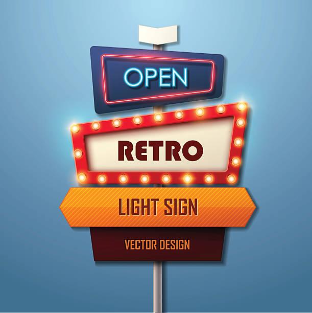 retro light sign. vintage style banner. - transparent stock illustrations