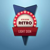 Retro light sign. Vintage style banner. Vector illustration.