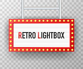 Retro lightbox billboard vintage frame. Lightbox with customizable design. Classic banner for your projects or advertising. Vector illustration.