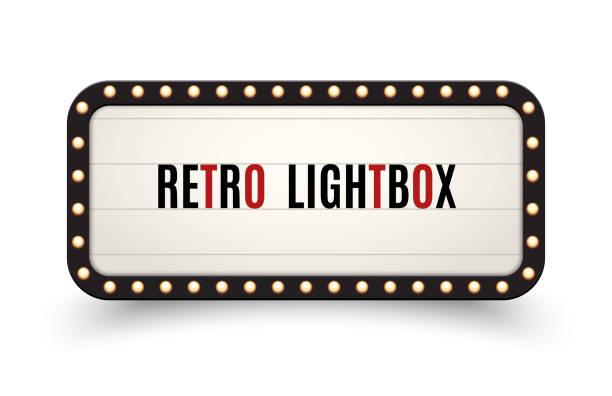 ilustrações, clipart, desenhos animados e ícones de quadro retro do vintage do quadro de avisos do lightbox. caixa da luz da bandeira do vintage. o cinema ou a decoração do quadro indicador da mostra anunciam - barraca