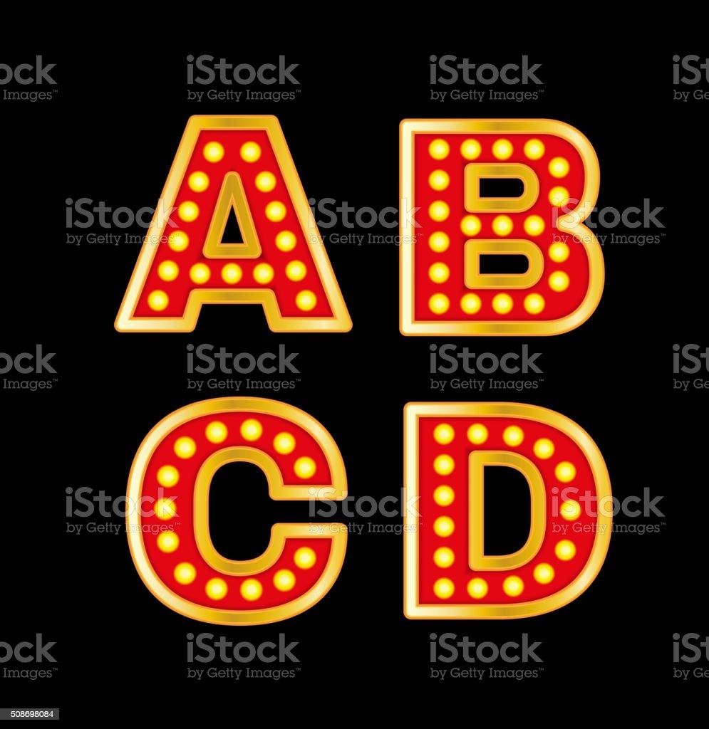 Retro lights Letters vector art illustration