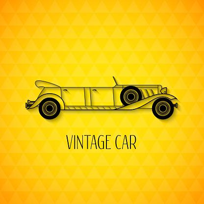 Retro limousine cabriolet car, vintage outline style