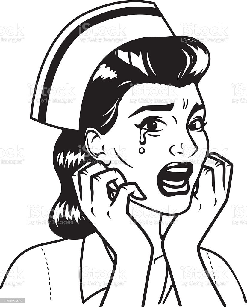 Line Drawing Nurse : Retro line art illustration of a crying nurse stock vector