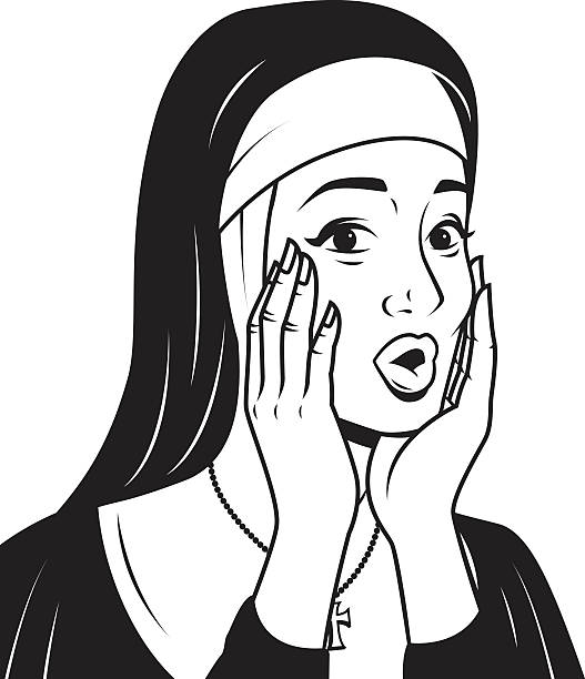 ilustraciones, imágenes clip art, dibujos animados e iconos de stock de retro de arte ilustración de una extraña monja - hermana