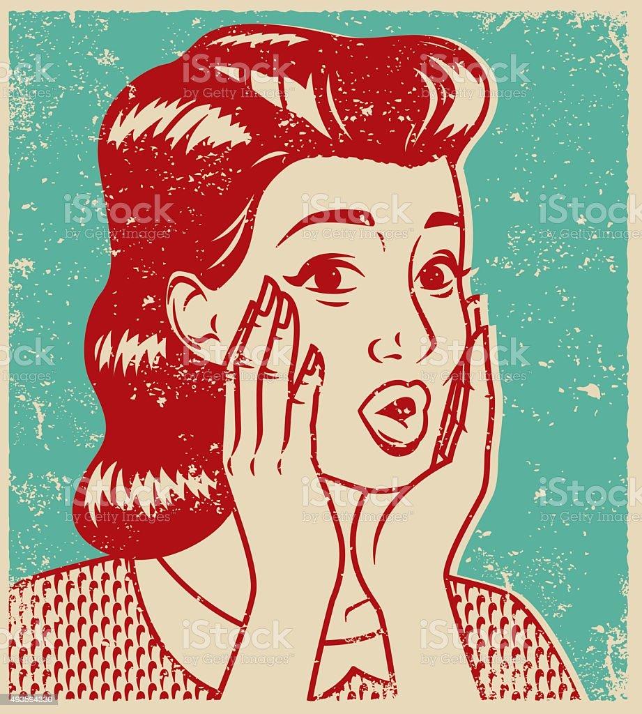 Retro Line Art Illustration of a Surprised Woman vector art illustration