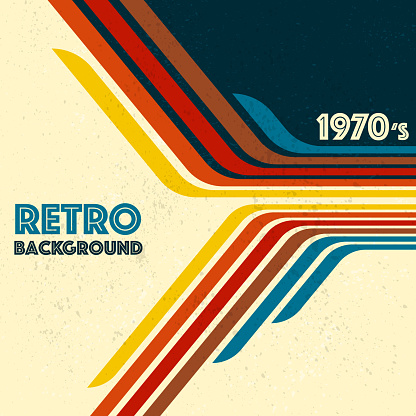 Abstract lines background with different colours for retro background. Old fashion wallpaper with geometrical perspective lines design