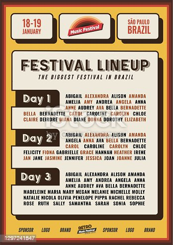 istock Retro Lineup Flyer or Poster Template for Music Festival or Nightclub Party Event Promo Banner in Vintage Yellow and Orange Colors 1297241847