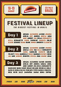 Retro Lineup Flyer or Poster Template for Music Festival or Nightclub Party Event Promo Banner in Vintage Yellow and Orange Colors