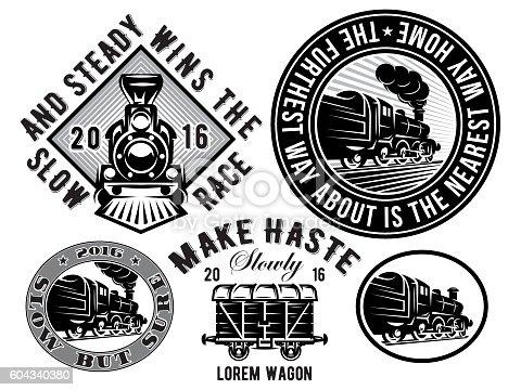 istock retro locomotive, wagon, vintage train, logotype, illustration to topic railroad 604340380
