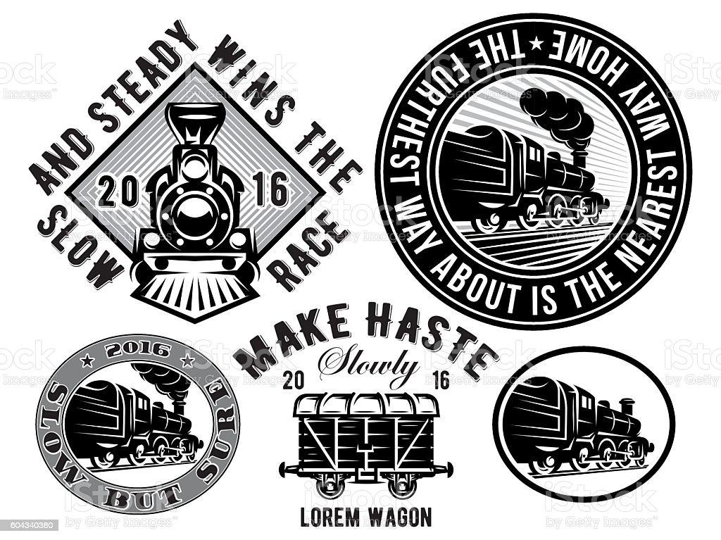 retro locomotive, wagon, vintage train, logotype, illustration to topic railroad vector art illustration