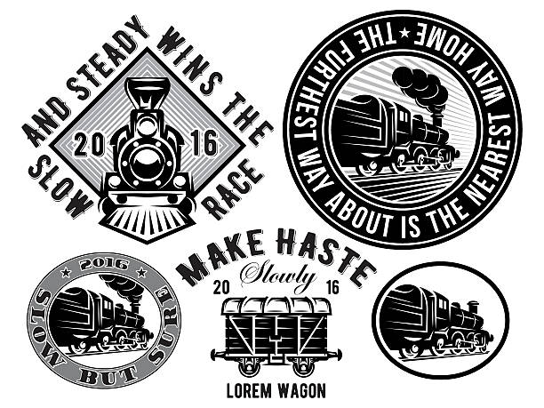 retro locomotive, wagon, vintage train, logotype, illustration to topic railroad - train stock illustrations, clip art, cartoons, & icons