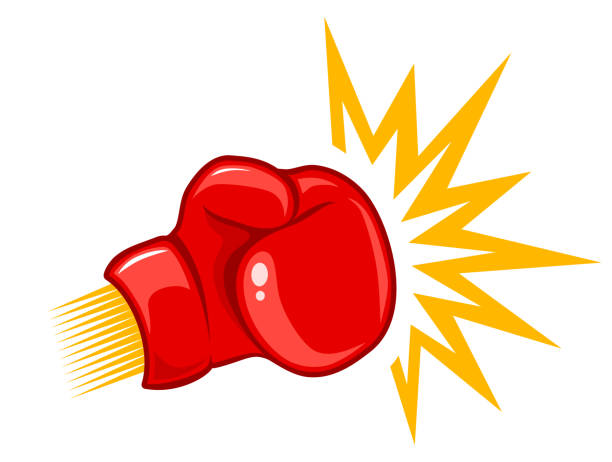 stockillustraties, clipart, cartoons en iconen met retro logo voor boksen. - punch