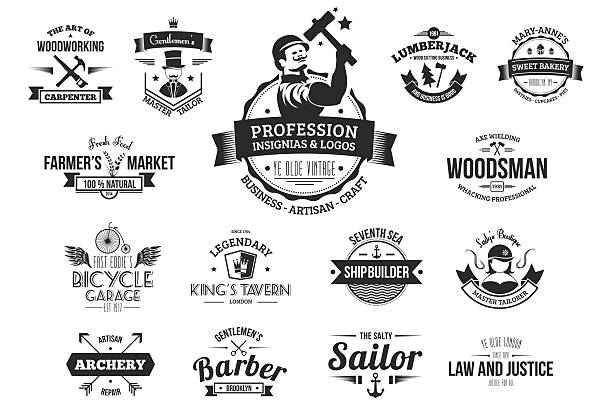 retro logos for professions, business and artisans. - carpenter stock illustrations, clip art, cartoons, & icons