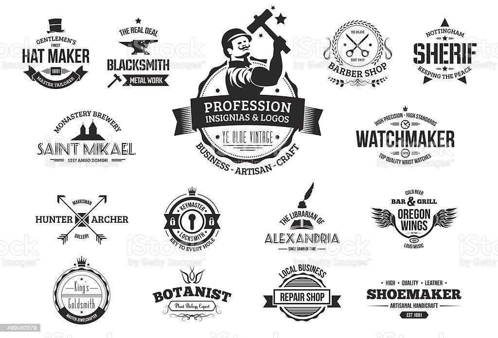 Retro logotipos para profissionais, empresariais e artesãos. - ilustração de arte em vetor