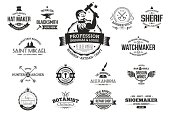 Retro logos for professions, business and artisans.