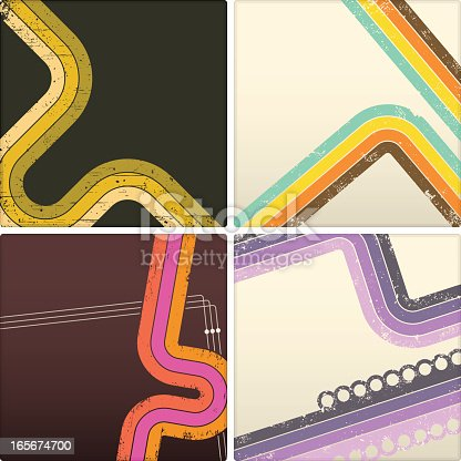 Four retro grunge banners. Linear gradients used. High resolution jpg included.