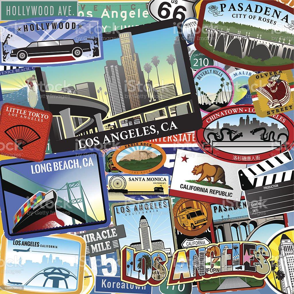 Retro Los Angeles Travel Location Collage royalty-free stock vector art