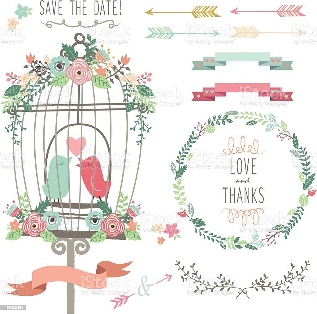 Retro Love Birdcage and Wedding Flowers- Illustration vector art illustration