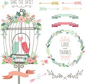Retro Love Birdcage and Wedding Flowers- Illustration