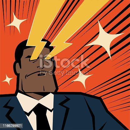 Unique Characters Full Length Vector art illustration. Retro macho african ethnicity businessman shooting laser beams from his eyes.