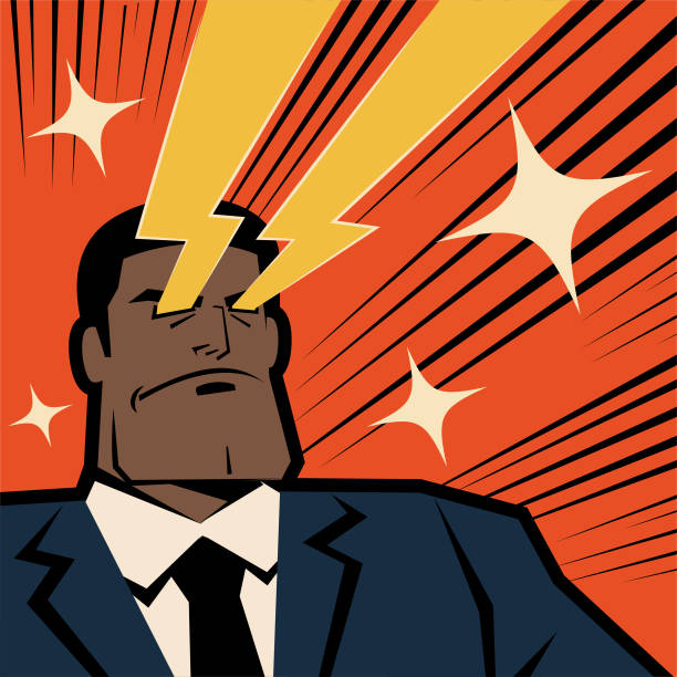 Retro macho african ethnicity businessman shooting laser beams from his eyes vector art illustration