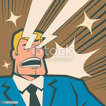 Unique Characters Full Length Vector art illustration. Retro macho businessman shouting and shooting laser beams from his eyes.