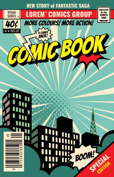 stockillustraties, clipart, cartoons en iconen met retro tijdschriftdekking. vintage stripboek vector sjabloon - illustraties van magazine mockup