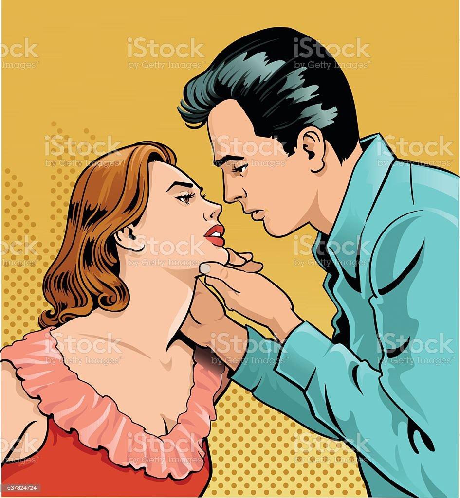 Retro Man and Woman in Love vector art illustration